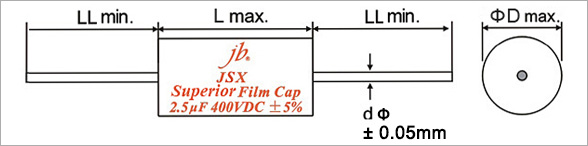 JSX - Superior Metallized Polypropylene Film Capacitors – Axial Drawing